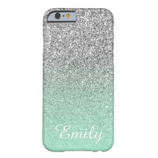 銀製のグリッターのミントのグラデーションな名前入り BARELY THERE iPhone 6 ケース