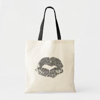 銀製のグリッターの唇のトートバック トートバッグ