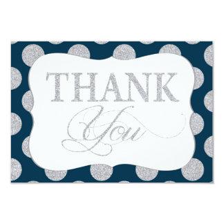 銀製のグリッターの点の濃紺のモダンは感謝していしています 8.9 X 12.7 インビテーションカード