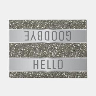 銀製のグリッターパターンこんにちはさようなら ドアマット