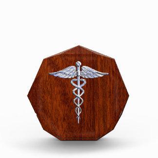 銀製のケリュケイオンの医学の記号のマホガニーの装飾 表彰盾