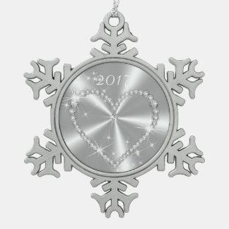 銀製のサテンのダイヤモンドのハート スノーフレークピューターオーナメント