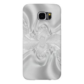 銀製のサテンのダマスク織の白は生地のプラシ天を真珠で飾ります SAMSUNG GALAXY S6 ケース