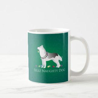 銀製のシベリアンハスキーのFelizいけない犬のクリスマス コーヒーマグカップ