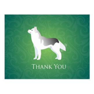 銀製のシベリアンハスキー犬は感謝していしています ポストカード