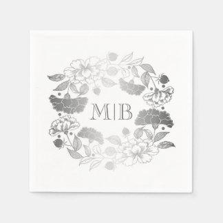 銀製のシャクヤク-花のリースの庭園の結婚式 スタンダードカクテルナプキン