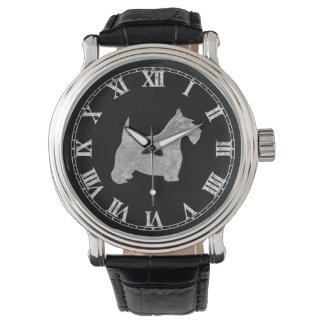 銀製のスコッチテリアあなたの背景 腕時計