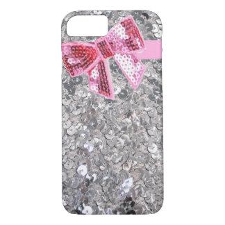 銀製のスパンコールかピンクの弓iPhone 7の場合 iPhone 8/7ケース