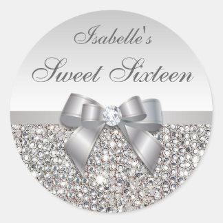 銀製のスパンコールの弓ダイヤモンドのSweet sixteen ラウンドシール