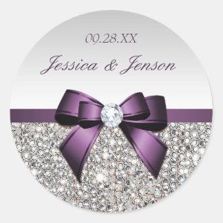 銀製のスパンコールの紫色の弓およびダイヤモンド結婚式 ラウンドシール