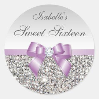 銀製のスパンコールの薄紫の弓ダイヤモンドのSweet sixteen ラウンドシール
