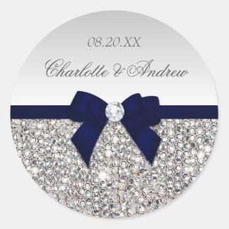 銀製のスパンコール海軍弓およびダイヤモンド結婚式 ラウンドシール