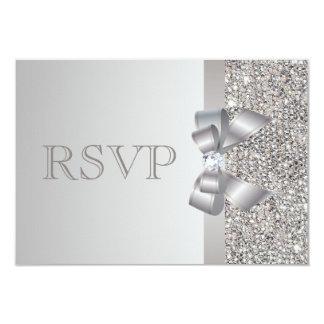銀製のスパンコール、弓及びダイヤモンドRSVPの結婚式 カード