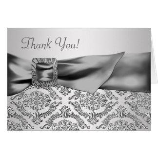 銀製のダマスク織のサンキューカード ノートカード