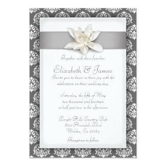 銀製のダマスク織の結婚式招待状 12.7 X 17.8 インビテーションカード