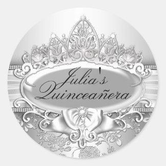 銀製のティアラ及びキンセアニェラの花のステッカー ラウンドシール