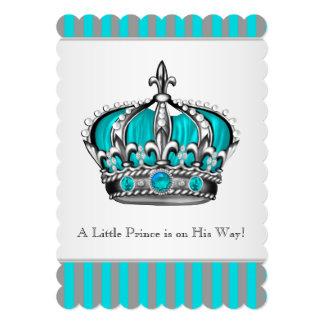 銀製のティール(緑がかった色)の青い王子ベビーシャワー カード