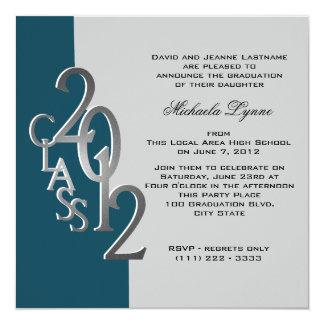 銀製のティール(緑がかった色)の2012年の写真の卒業の招待状 カード
