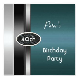 銀製のティール(緑がかった色)メンズ第40誕生会の人に金属をかぶせて下さい カード
