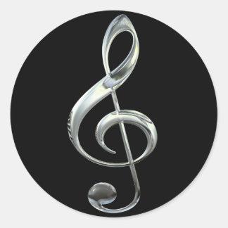 銀製のト音記号 ラウンドシール