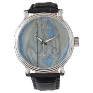 銀製のドラゴン 腕時計