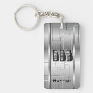 銀製のハイテクなコードロッカー キーホルダー