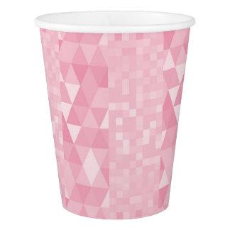 銀製のパステル調ピンクの幾何学的なダイヤモンドの正方形 紙コップ