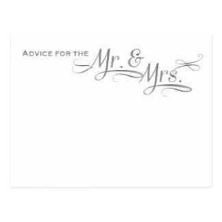 銀製のフォントの結婚式のアドバイスカード ポストカード