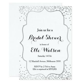 銀製のブライダルシャワーの招待状 カード