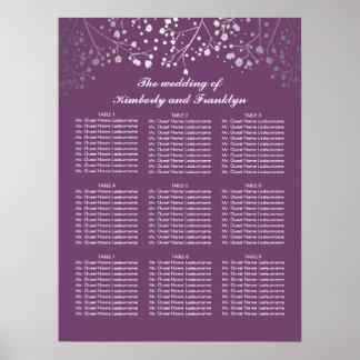 銀製のベビーの呼吸プラム結婚式の座席の図表 ポスター