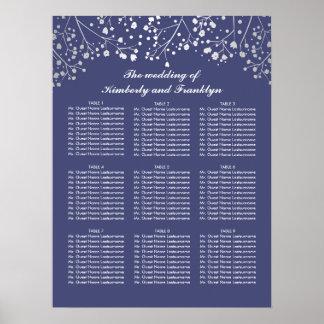 銀製のベビーの呼吸海軍結婚式の座席の図表 ポスター