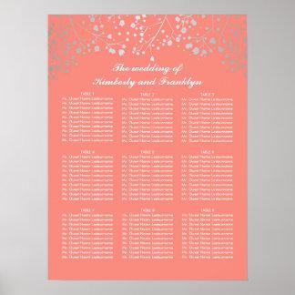 銀製のベビーの呼吸珊瑚の結婚式の座席の図表 ポスター