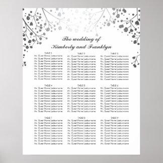 銀製のベビーの呼吸白い結婚式の座席の図表 プリント