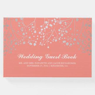 銀製のベビーの呼吸花のエレガントなピンクの結婚式 ゲストブック