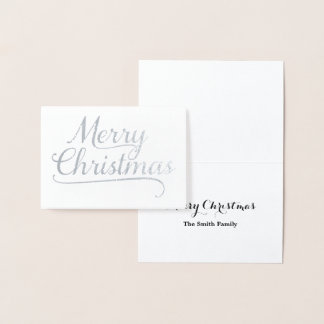 銀製のメリークリスマスの単語の芸術 箔カード