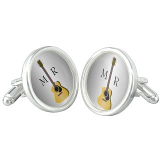 銀製のモノグラムのなアコースティックギター カフスリンク