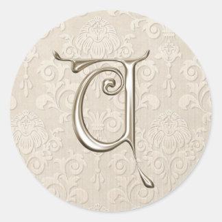 銀製のモノグラムの結婚式用シール-手紙U ラウンドシール