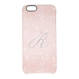 銀製のモノグラムRの魅力的なパステル調ピンクの《写真》ぼけ味のiPhone クリアiPhone 6/6Sケース