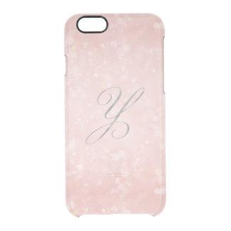 銀製のモノグラムYの魅力的なパステル調ピンクの《写真》ぼけ味のiPhone クリアiPhone 6/6Sケース
