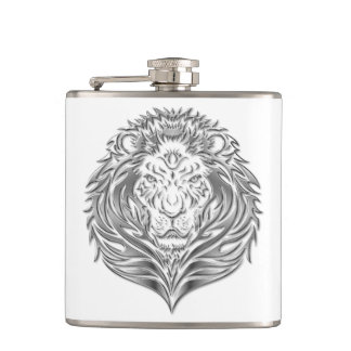銀製のライオンの白いビニールの包まれたなフラスコ フラスク