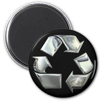銀製のリサイクルアイコン磁石 マグネット