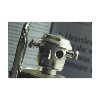 銀製のロボット キャンバスプリント