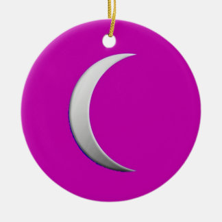 銀製の三日月形の月-マゼンタの背景 セラミックオーナメント