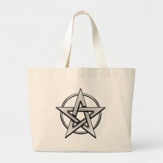 銀製の五芒星のバッグ ラージトートバッグ