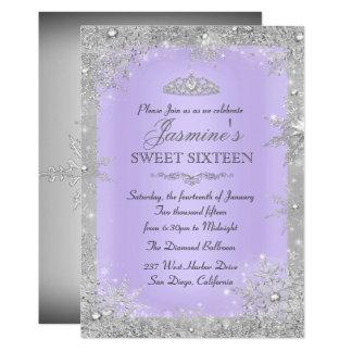 銀製の冬の不思議の国の紫色の菓子16の招待 カード