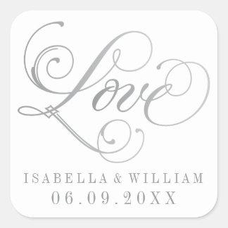 銀製の原稿の白い結婚式用シール|愛 スクエアシール