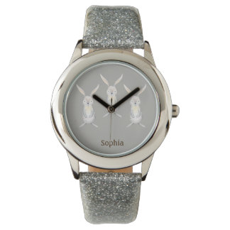 銀製の名前入りな腕時計の3匹のかわいいウサギ 腕時計