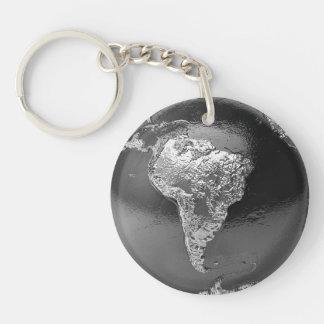 銀製の地球-南アメリカ、3dは描写します キーホルダー