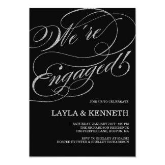 銀製の婚約|の婚約パーティの招待状 カード
