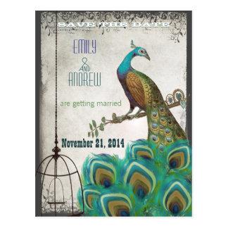 銀製の孔雀の羽の鳥かごの保存日付 ポストカード